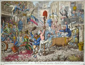 """Джеймс Гилрей. Карикатура «Обещанные ужасы французского вторжения""""». XVIII в."""