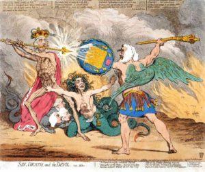 Джеймс Гилрей. Карикатура «Грех, Смерть и Дьявол». XVIII в.