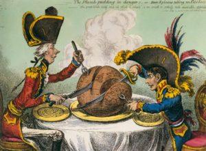 Джеймс Гилрей. Карикатура «Пудинг в опасности». 1805 г.